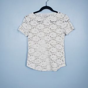 Ann Taylor LOFT embroidered lace scoop neck tee